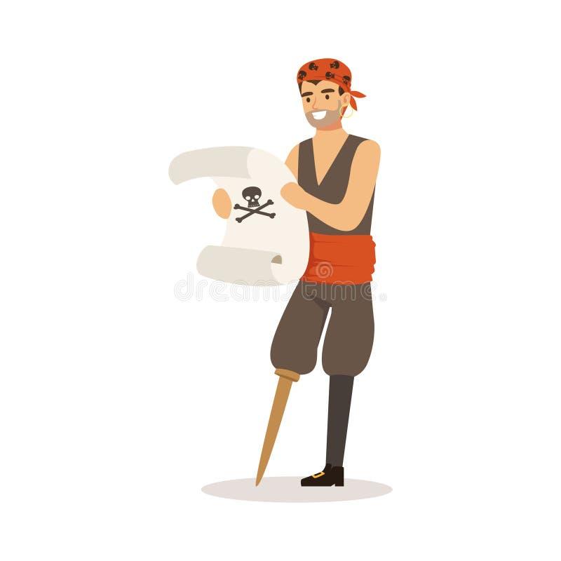 与拿着古老纸卷传染媒介例证的木腿的勇敢的海盗水手字符 向量例证
