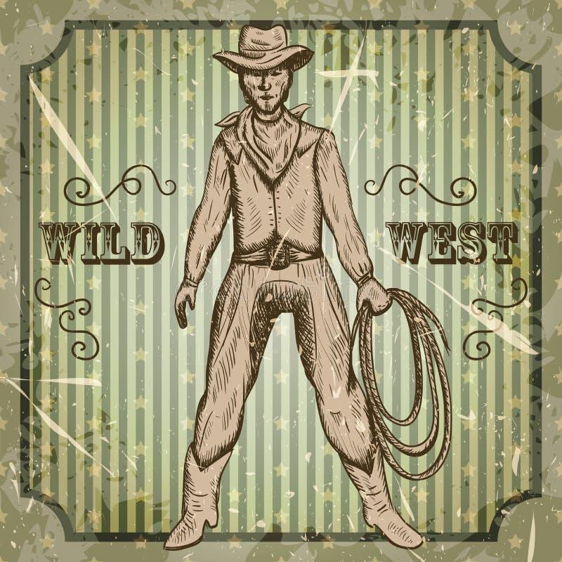 与拿着套索的牛仔的葡萄酒海报 减速火箭的手拉的在剪影样式的传染媒介例证狂放的西部 库存例证