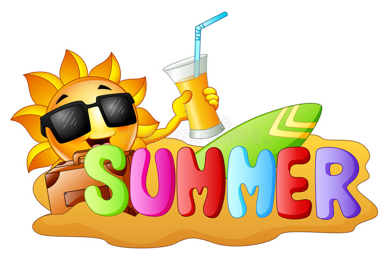 与拿着橙汁,冲浪和沙子的愉快的微笑的太阳的夏天滑稽的背景 皇族释放例证