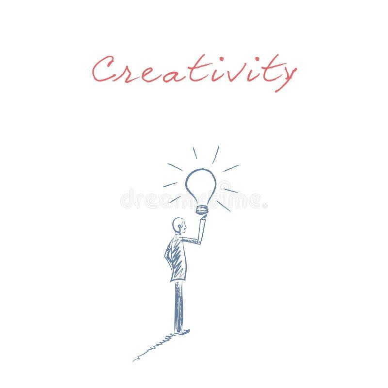 与拿着电灯泡的商人的企业创造性手拉的剪影传染媒介作为新,新,明亮的想法的标志 向量例证