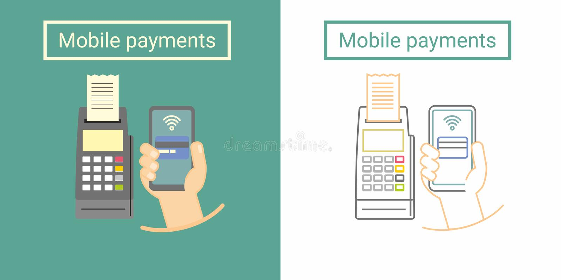 与拿着电话的终端和手的流动付款设计观念 平和线性标志 向量例证