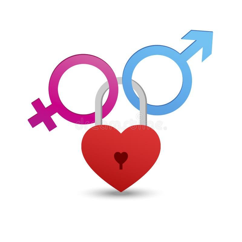 与挂锁心脏的男性和女性标志 爱概念 库存图片