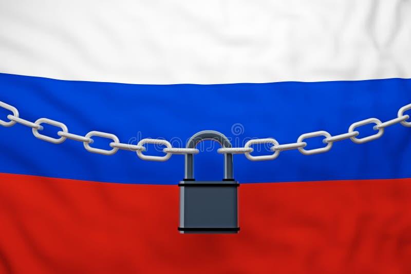 与挂锁的俄罗斯旗子闭链 库存例证