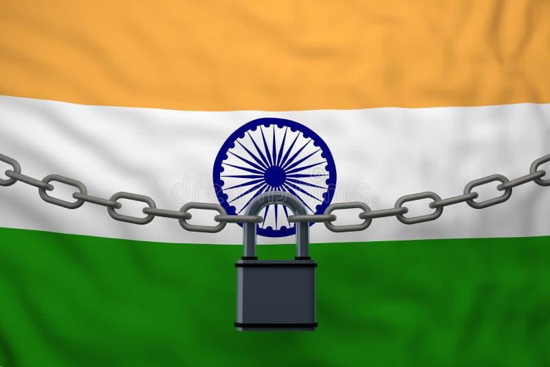 与挂锁的印度旗子闭链 库存例证