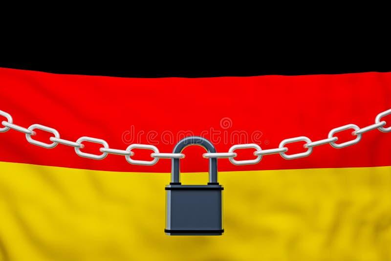 与挂锁的德国旗子闭链 向量例证