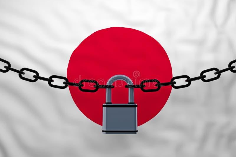 与挂锁的日本旗子闭链 向量例证
