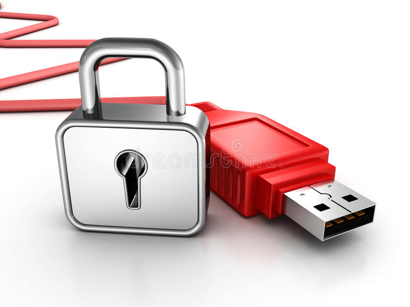 与挂锁的红色usb电缆。 数据安全性概念 库存例证
