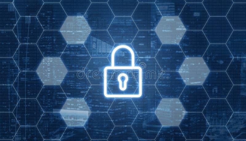 与挂锁的Blockchain概念在中心 六角形与空的细胞的形状网络 库存例证