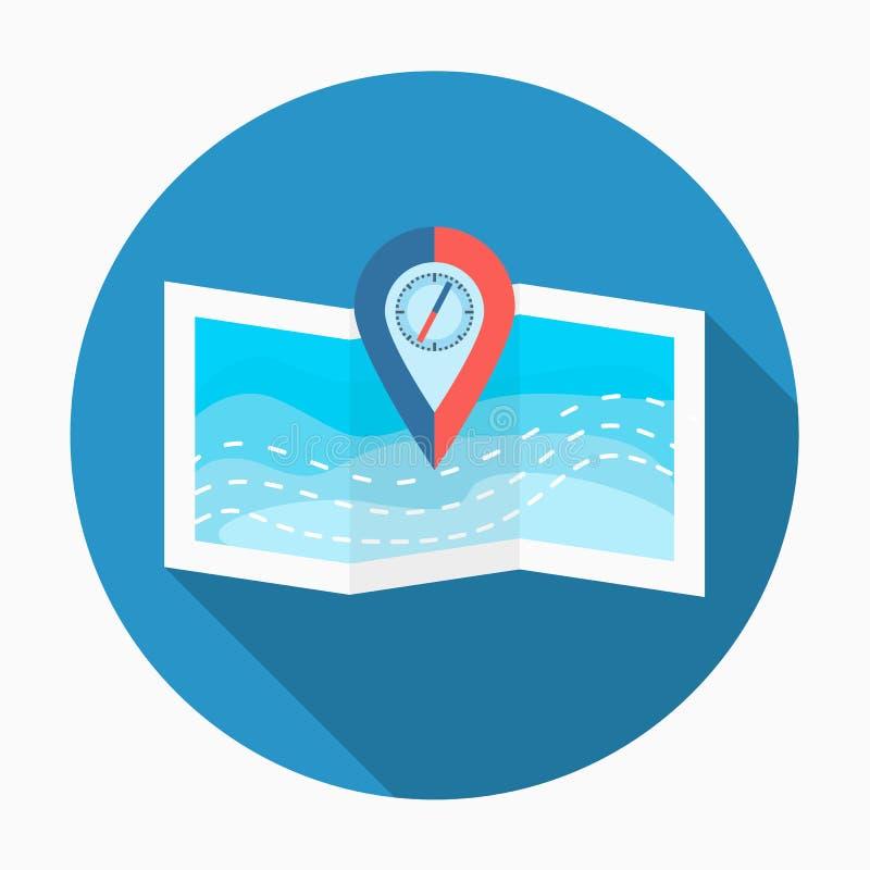 与指南针别针的海地图 向量例证