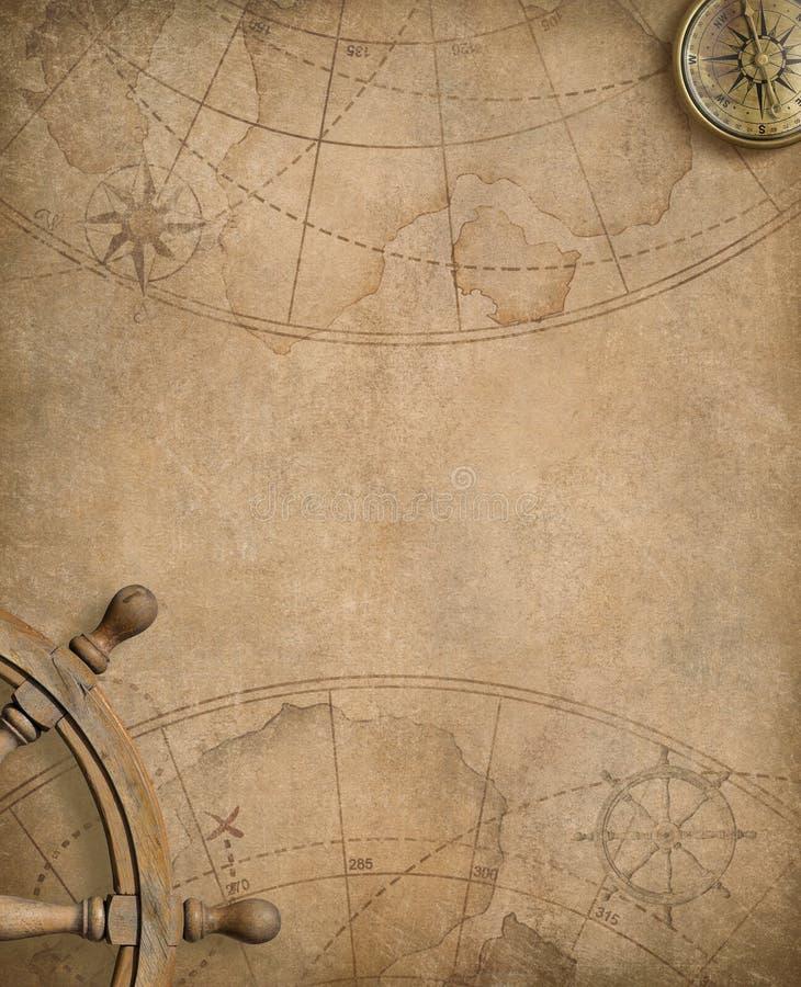 与指南针和方向盘的老船舶地图 库存例证