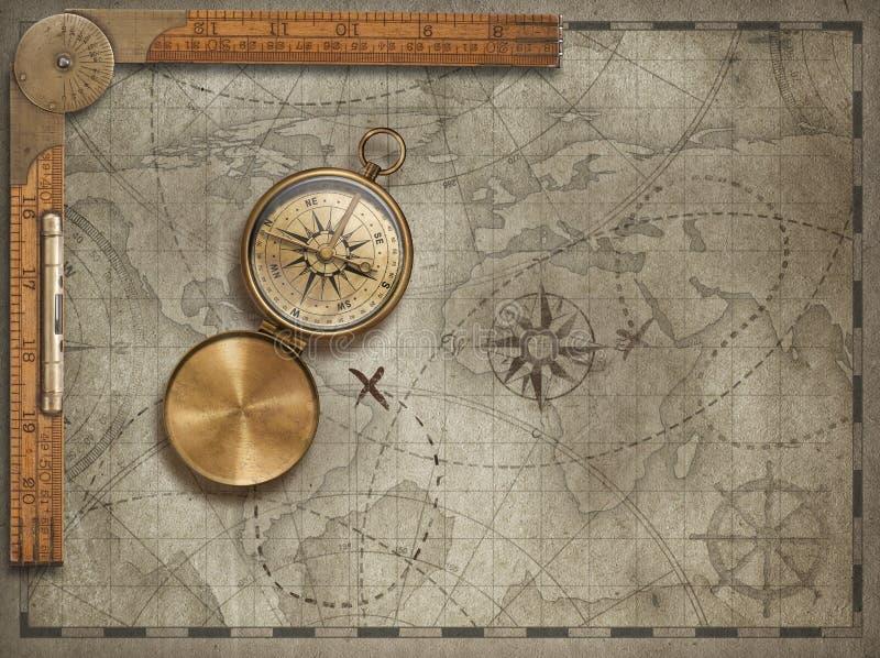 与指南针和统治者的老地图背景 冒险和旅行概念 3d例证 免版税库存照片