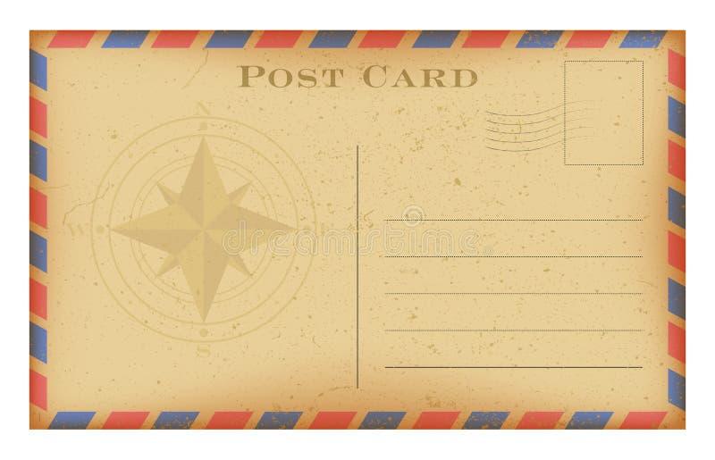 与指南针的传染媒介老明信片 难看的东西纸葡萄酒明信片 向量例证