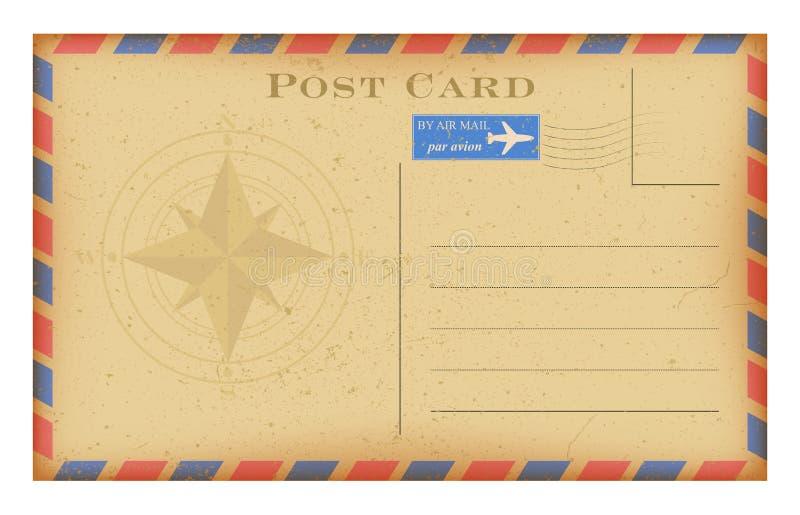 与指南针的传染媒介航空邮件老明信片 难看的东西纸葡萄酒明信片 皇族释放例证