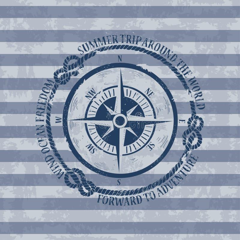 与指南针的船舶象征 向量例证