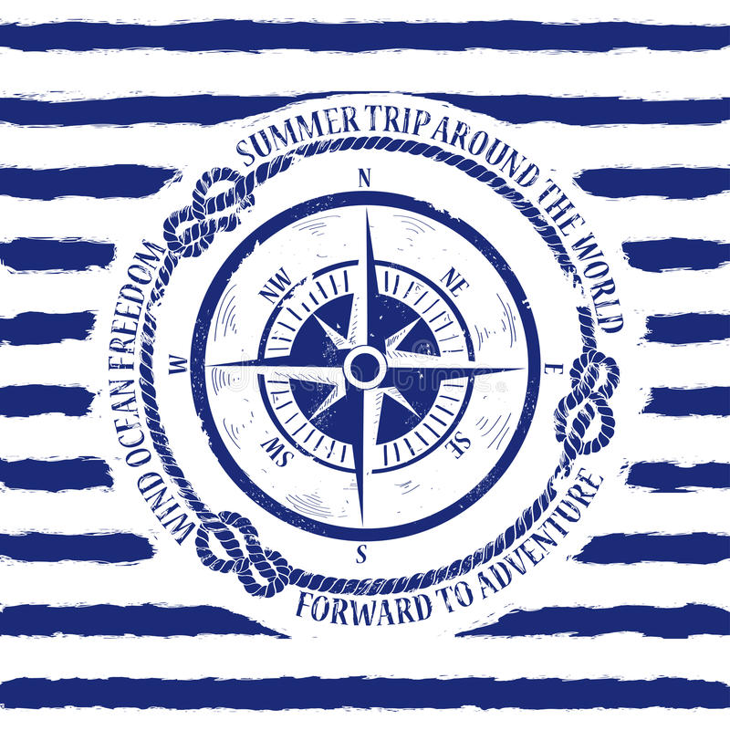 与指南针的船舶象征 库存例证