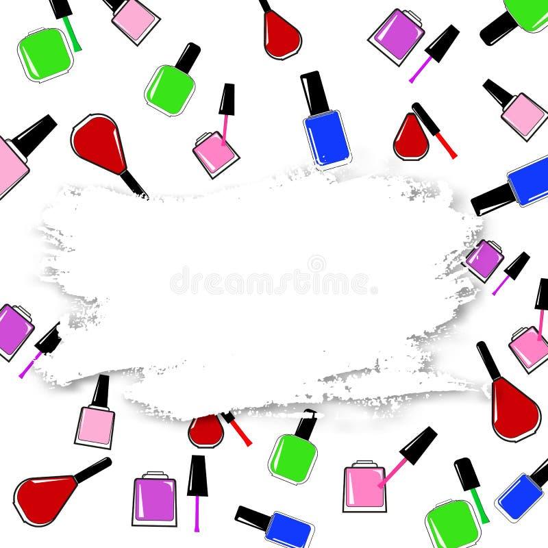 与指甲油的传染媒介抽象横幅 库存例证