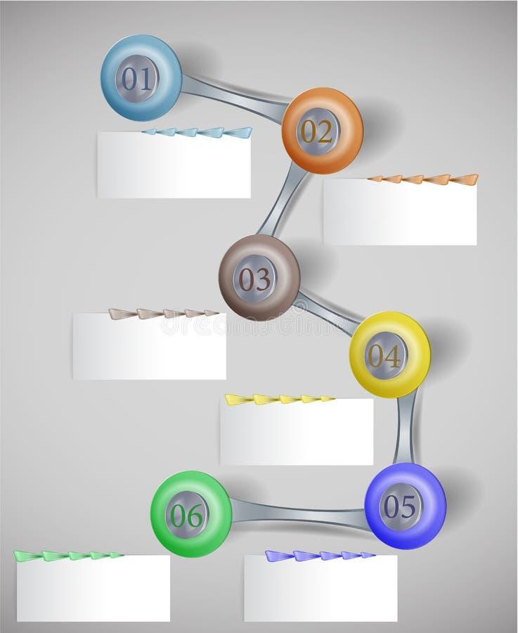 与按钮、纸横幅和箭头的Infographics逐步的模板 库存例证