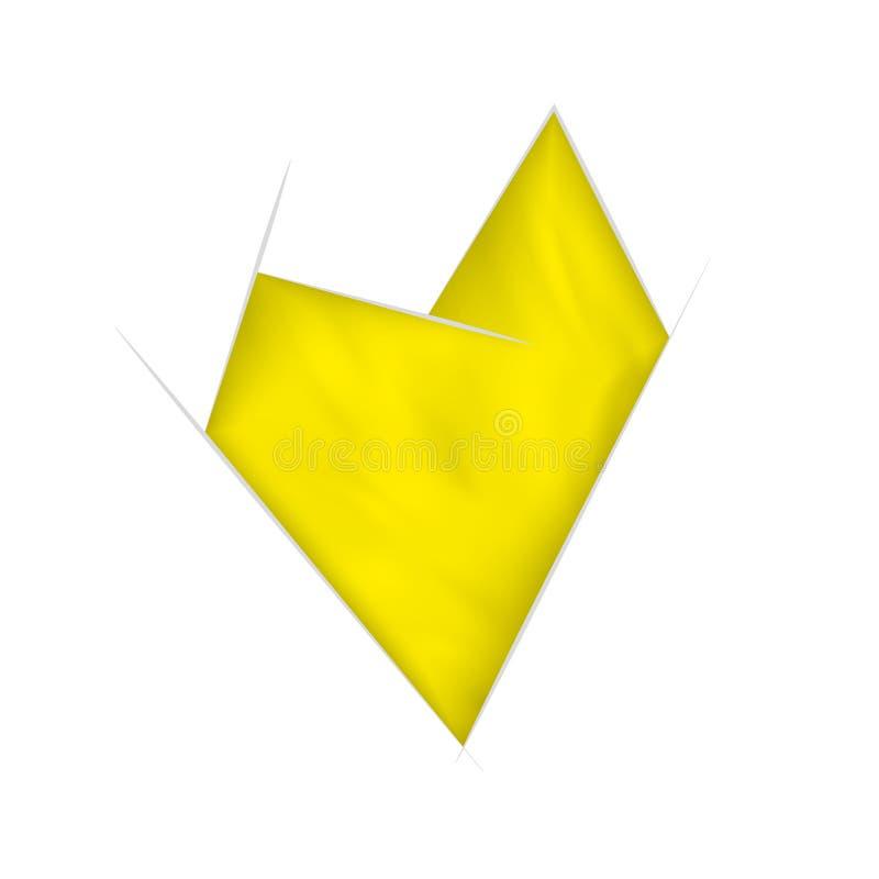 与挥动的作用的黄色抽象心脏 向量例证