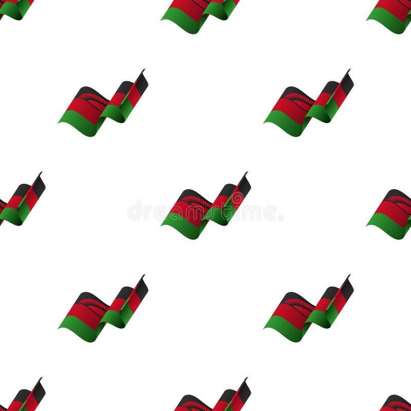 与挥动的旗子的无缝的样式 马拉维旗子 也corel凹道例证向量 皇族释放例证