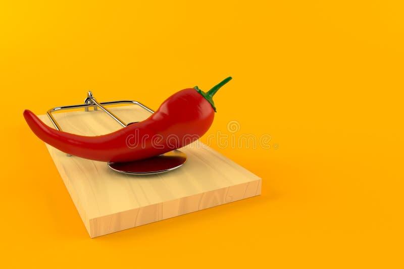 与捕鼠器的热的辣椒粉 库存例证