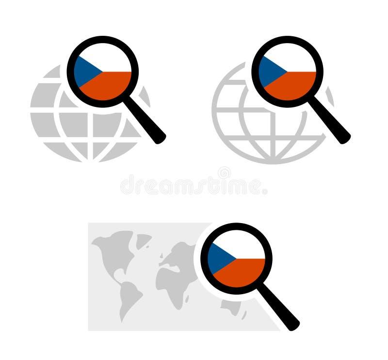 与捷克旗子的查寻象 库存例证