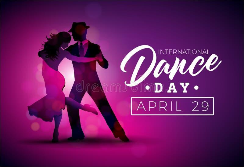 与探戈跳舞夫妇的国际舞蹈天传染媒介例证在紫色背景 横幅的设计模板 库存例证