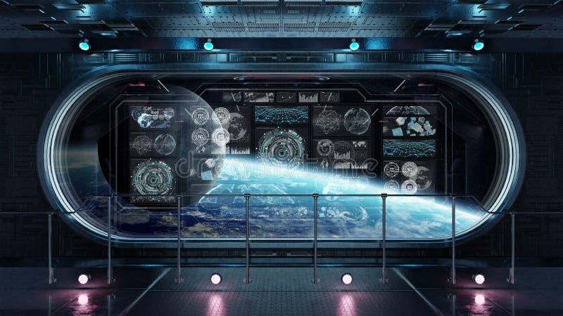 与控制板数字式屏幕3D的黑暗的太空飞船内部关于 向量例证