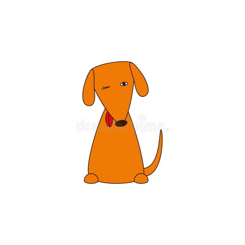 与推出的舌头的逗人喜爱的狡猾的狗 库存例证