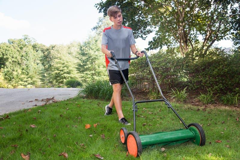 与推挤卷轴刈草机的男孩割的草 库存照片