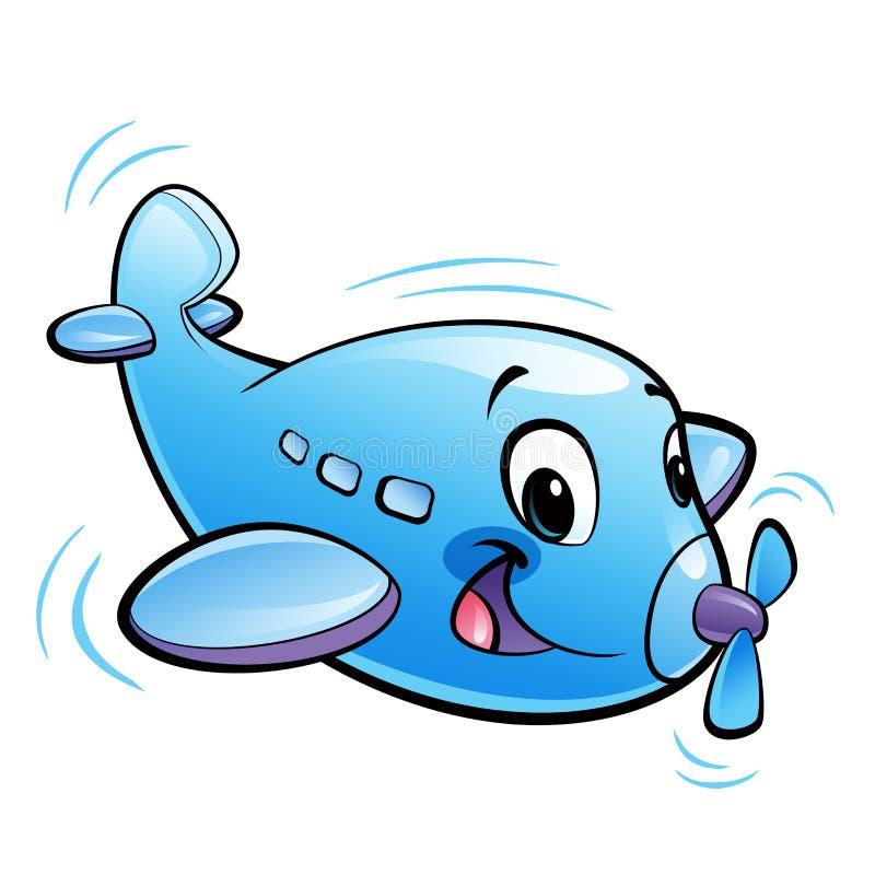 与推进器飞行的婴孩逗人喜爱的动画片蓝色飞机字符 向量例证