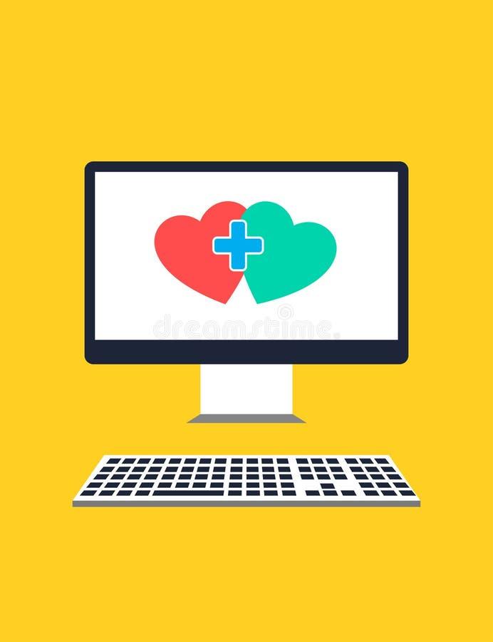 与描述网上约会概念的两心脏的计算机显示器 皇族释放例证
