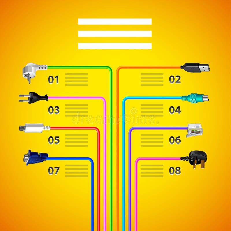 与插座钢缆的Infographics在黄色背景 皇族释放例证