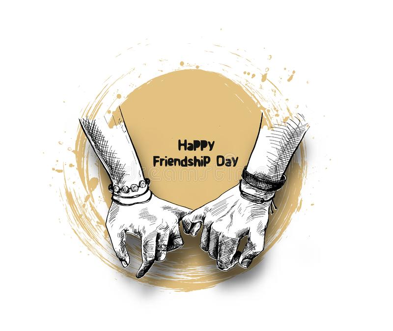 与握诺言手的友谊天 向量例证