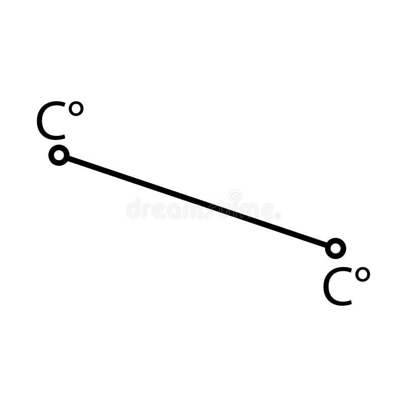 与摄氏度的线 温度标志 库存例证