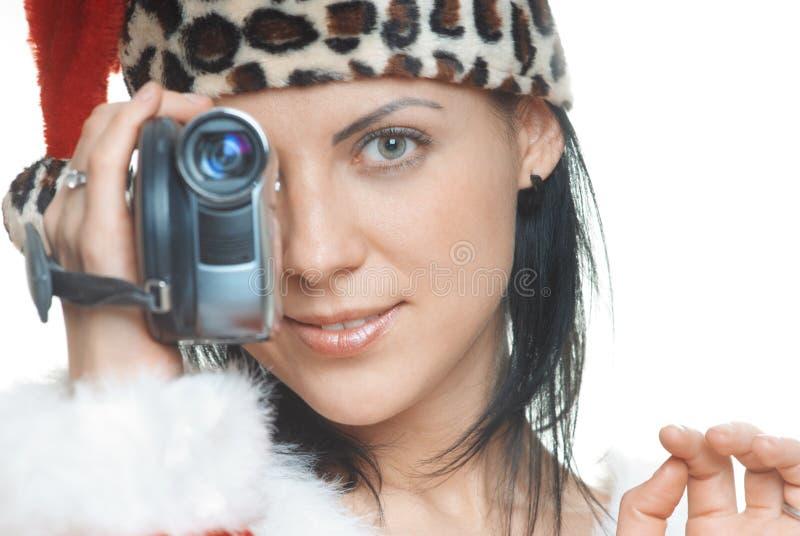 与摄象机的圣诞老人 免版税库存图片