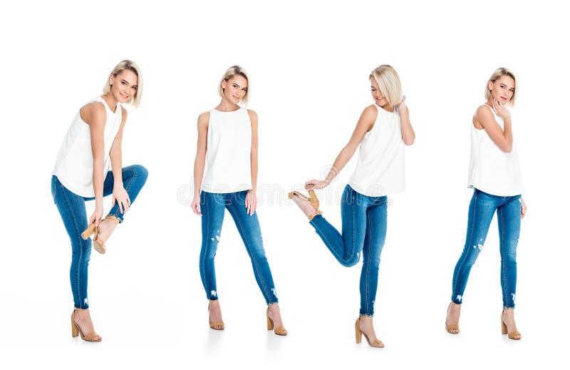 与摆在牛仔裤和脚跟的美丽的白肤金发的女孩的拼贴画, 库存照片