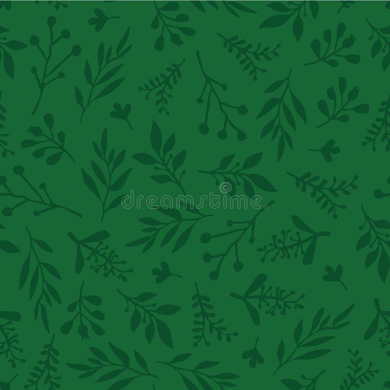 与摘要叶子绿色的无缝的传染媒介背景 在绿色,不尽的叶子样式的单叶纹理 微妙的圣诞节 向量例证