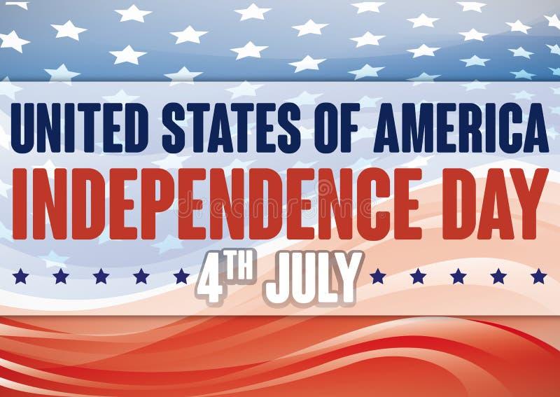 与摘要波浪和星的美国国旗美国独立日的 库存例证