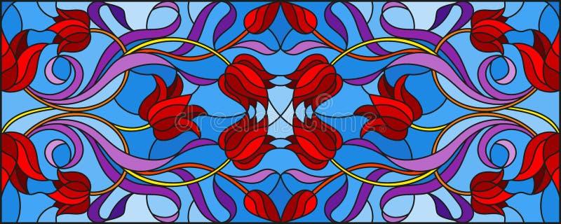 与摘要漩涡的彩色玻璃郁金香例证,在蓝色背景,水平的取向的花和叶子 库存例证