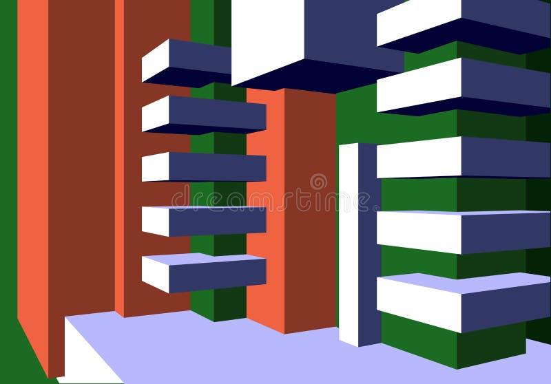 与摘要的建筑学背景求构成的立方并且清洗minimalistic样式 皇族释放例证