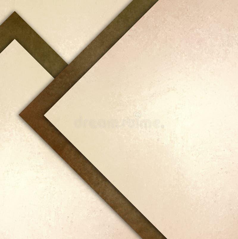 与摘要角度三角和对角形状的典雅的棕色白色背景纹理纸在任意抽象样式分层了堆积 免版税库存照片