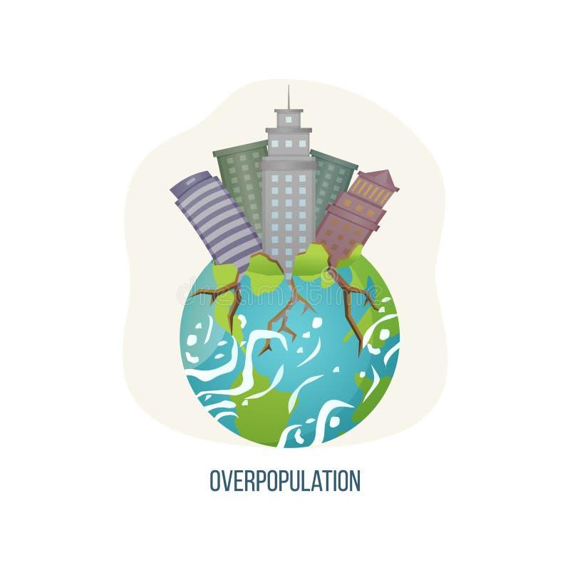 与摩天大楼和根的人口过剩行星 向量例证
