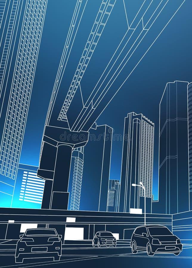 与摩天大楼和汽车的现代都市都市风景在路稀薄的线在蓝色背景的摘要设计 皇族释放例证