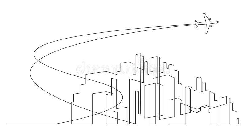 与摩天大楼和飞机的抽象现代城市地平线在天空-个别线路在白色背景的向量图形 向量例证