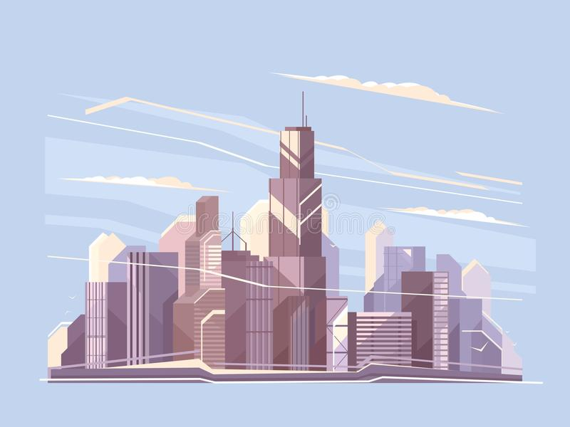 与摩天大楼的城市风景 皇族释放例证