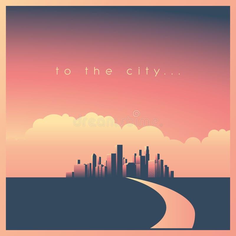与摩天大楼的现代公司都市风景或地平线背景导致富有的日落和路的,富裕的街市 库存例证