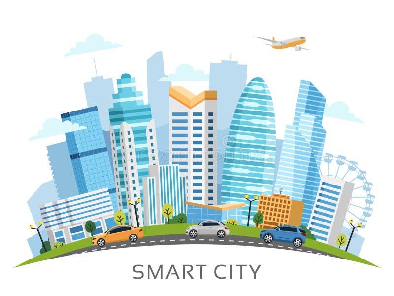 与摩天大楼的都市聪明的城市曲拱风景 库存例证