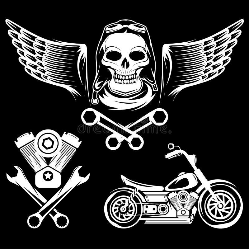 与摩托车、头骨、引擎和活塞的题材标签 向量例证