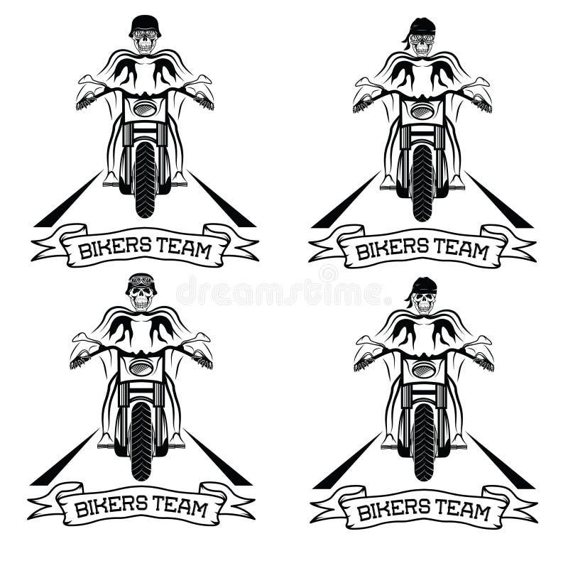 与摩托车和头骨的标签 向量例证