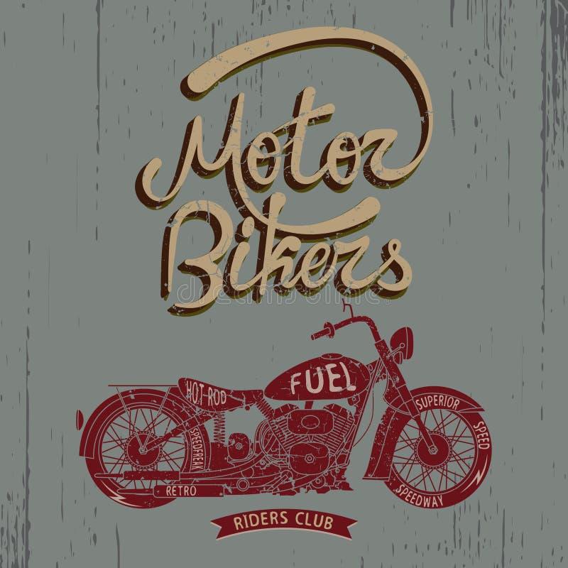 与摩托车的葡萄酒商标 库存例证